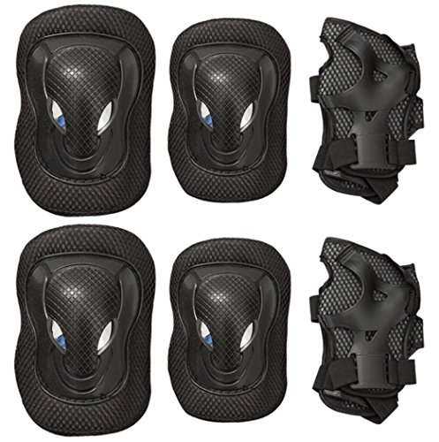 Adult/Child Knee Pads Elbow Pads Wrist Guards 3 In 1 Protective Gear Set For Multi Sports Outdoor Activities Mountain Bike (A-black)