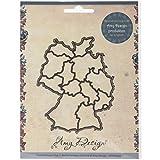 Amy Design Card Deco Maps Stanz- und Prägeschablone ADD10005, Landkarte Deutschland, Schablonengrö