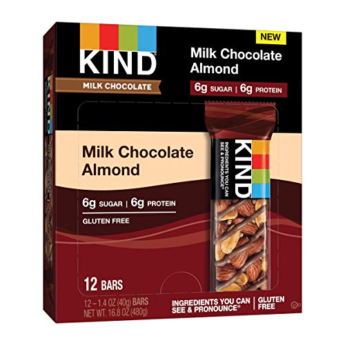 KIND Low Sugar Gluten Free Bars, Milk Chocolate Almond, 60 Count