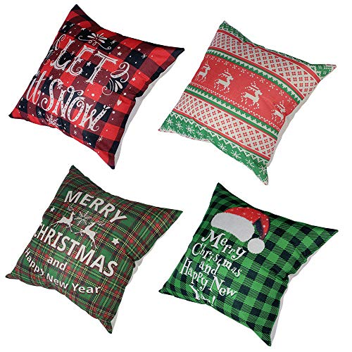 VIOMO 4 Christmas Pillow Covers 18x18 inch Santa Claus Christmas Tree Throw Pillow Case Xmas Cushion Cover for Sofa Couch Farmhouse Decoration