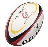 Gilbert Newport Gwent Dragons - Ballon de Rugby Réplique Officiel - Blanc/Rouge/Noir - taille 5