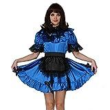 GOceBaby Sissi Abschließbar Dienstmädchen Blau Satén Lace Kleid Uniform Kostüm Kreuzkleid (XL)
