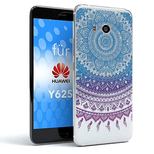 EAZY CASE Hülle kompatibel mit Huawei Ascend Y625 Schutzhülle Silikon Mandala Design, Slimcover Henna, Handyhülle, TPU Hülle/Soft Case, Silikonhülle, Backcover, indische Sonne, transparent, Blau/Pink