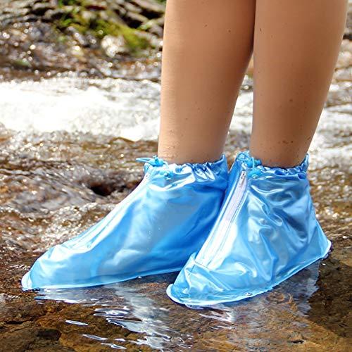 I will take action now Outdoor wasserdichte Überschuh Reise Regen und Regen Stiefel Set kleine verschleißfeste Anti-Rutsch-Männer und Frauen Erwachsene Regen Stiefel (Color : Blue, Size : M)