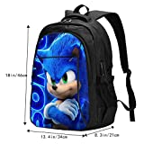 The Sonic Travel Laptop Backpack, Ultra-Thin And Durable Business, With Usb Charging Port, Waterproof College Student Computer Bag, Men And Women Wear Suitable For 18-Inch Laptop Black