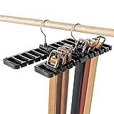 LKY Gürtelhalter, 10 Schlitze, für Krawatte, Gürtel, Schal und Halstuch aus stabilem Kunststoff für Kleiderschrank, platzsparend, Gürtelbügel mit Metallhaken - Schwarz