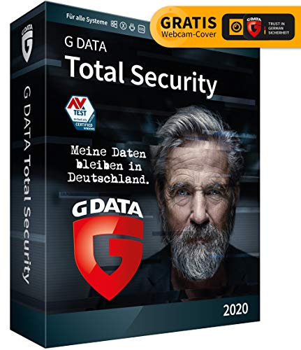 G DATA Total Security 2020, 3 Geräte - 1 Jahr, DVD-ROM inkl. Webcam-Cover, Antivirus für Windows, Mac, Android, iOS, Made...