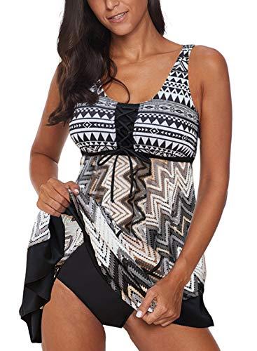 Lovezesent Women's Plus Size Aztec Print Two Piece Tankini Swimsuit Tummy Control Swimwear Modest Bathing Suits Swimdresses for Woman 2XL