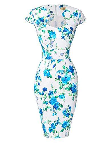 GRACE KARIN Womens 2016 Cap Sleeve Body Con Vintage Dress Summer Dress White Blue(S)