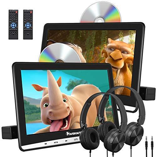 """NAVISKAUTO Lettore dvd da auto per poggiatesta,due cuffie dotate, due monitor da 10.1"""", supporta USB SD Region free AV-in e out, cavo AUX, 18 mesi di garanzia, per bambini"""