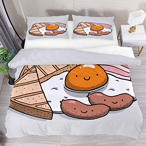 Duvet Cover Set, Super King Bedding Set 3 Pieces, Cute Cartoon Breakfast Eggs Hot Dog Bread Comforter Sheet Set with Pillow Shams Room Decor for Boys Girls Teens Adults
