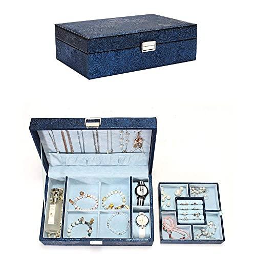 Caja de relojes Joyería Organizador Caja Joyería Caja de joyería de gran capacidad Caja de almacenamiento Hand Joyery Box Princess European Coreano Collar Pendiente Caja simple para niñas Madre Wo Yue