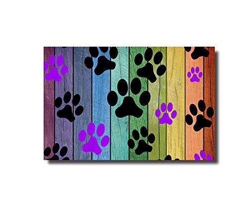 Vandarllin Colorful Puppy Paws Decorative Doormats Non-Skid Slip Rubber Entrance Mats Rugs Indoor/Outdoor/Front Door/Bathroom/Kitchen/Bedroom 18x30 inch