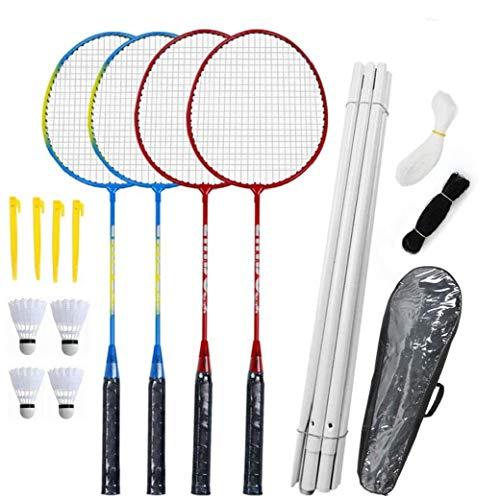 Badmintonschläger Set-4 Person Badminton Set Mit Net Für Garten Easy Setup Badminton-Set Für Erwachsene Kinder Kinder Familie Geeignet Für Sportliebhaber