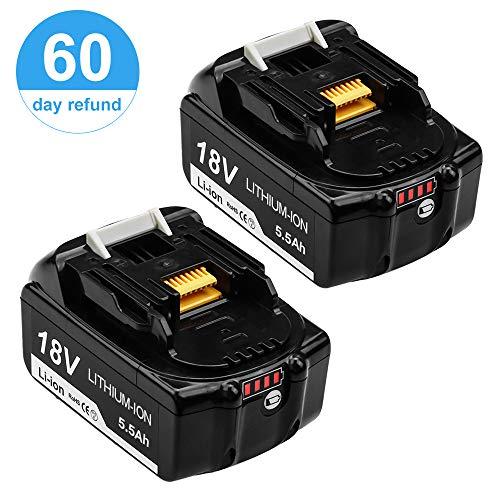 Topbatt 2X BL1860B 18V 5.5Ah pour Makita Lithium-ion batterie de rechange BL1860 BL1850B BL1850 BL1840 BL1830 BL1835 BL1845 BL1815...