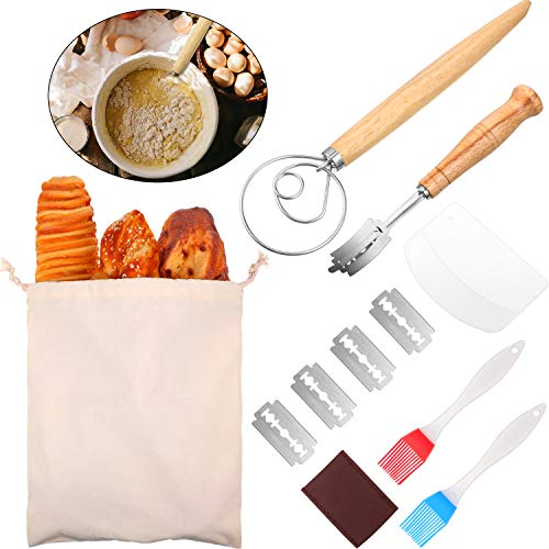 Danish Dough Whisk Hand Crafted Bread Lame with Protective Cover and 5 Pieces Replaceable Razor Blades 2 Pieces Silicone Brush Dough Scraper Linen Bag Dough Whisk Tools Set for Kitchen Baking