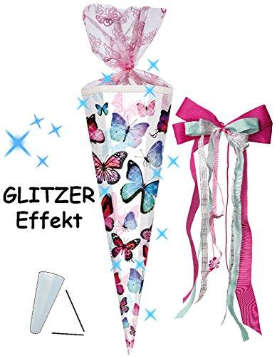 alles-meine.de GmbH Schultüte -  Schmetterlinge - bunt  - 100 cm / 12 eckig - incl. große Schleife - Organza Abschluß - Zuckertüte - mit / ohne Kunststoff Spitze - für Mädchen ..
