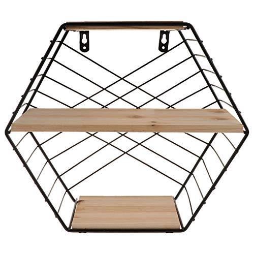 シェルフシェルフ 北欧スタイル 鉄 六角形 格子 壁棚 壁 取り付け 収納ラック ブラック