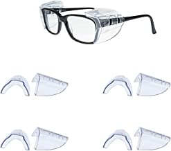 Helonge Safety Eyeglasses Side Shields, 4 Pairs Non-Slip Transparent Side Shields, Suitable for Small and Medium Glasses
