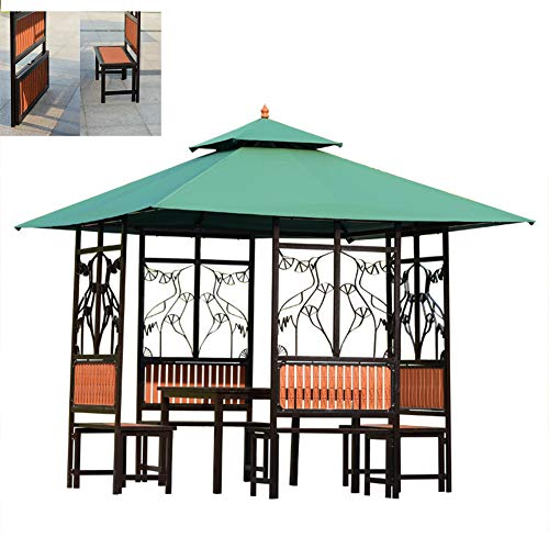 DNNAL Gazebo outdoor, Courtyard Tea Pavilion Outdoor sunshade Villa Flower and Bird Pavilion Tables and chairs antiseptic Outdoor pavilion with Table and Chair Set
