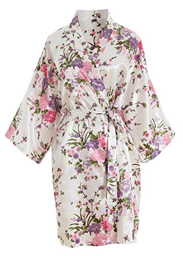 YAOMEI Donna Sposa Kimono Vestaglia Pigiama Sleepwear, di Seta RasoFiori di ciliegio Robe Accappatoio Damigella d'Onore Pigiama S-2XL (Busto: 126 cm, Fit S-2XL, Bianco)