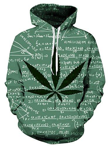 Loveternal Unisex 3D Unkraut Blatt Formel drucken Hoodies Hipster Neuheit übergroßen Hiphop Pullover Hoodie Sweatshirt für Paar Junioren XL