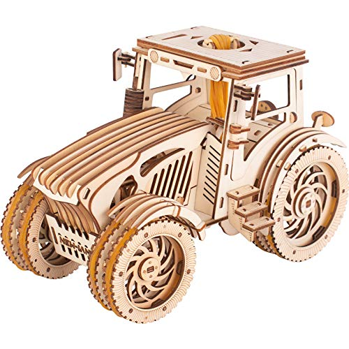 Bitopbi 3D Wooden Puzzles Rubber Band Motor Gears Drive Design Laser Engraving DIY Safe Assembly Constructor Kit Toy for Teens and Adults Mechanical 3-D Models for Self-Assembly (3# Tractor)