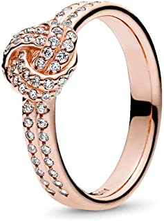 Sparkling Love Knot Ring, PANDORA Rose & Clear CZ 180997CZ