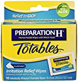 Preparation H Totables Irritation Relief Wipes 10 Each (Pack of 3)