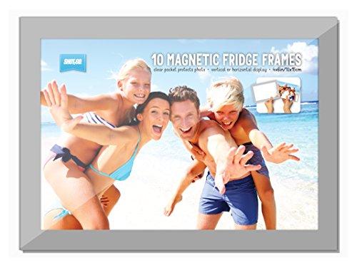 10 stuks Shot2Go magnetische fotolijsten voor foto's, met foto-vakken en zilveren rand, 10,2 x 15,2 cm