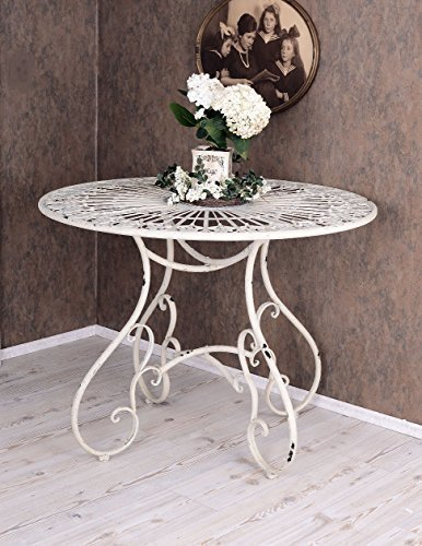 PALAZZO INT Runder Esstisch Gartentisch Shabby Chic Eisentisch Weiss Metall Tisch