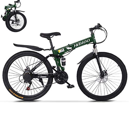 TOUNTLETS 26 Inch Full Suspension Mountain Bike Road Bike City Commuter Bicycle with 21 Speeds Dual Disc Brakes Folding Bike Non-Slip Bike City Riding ​​Bicycle for Mens/Womens (Green)