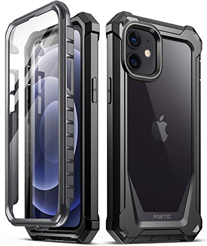 Poetic Guardian Series Designed for iPhone 12 Mini 5.4 inch Case, Full-Body Hybrid Reinforced Shockproof Protective Rugged Clear Bumper Cover Case with Built-in-Screen Protector, Black/Clear