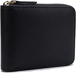Mens Genuine Leather Zipper Wallet, Upgrade RFID Blocking, Multi Card Holder Purse with Bifold ID Window and Coin Pocket