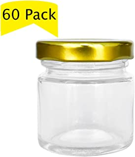 Folinstall 60 Pcs 1.5 oz (50ML) Small Glass Jars, Mini Mason Jars for Gifts, Crafts, Wedding, Spices, Party Favors and Candle Making