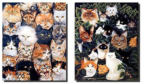 Wanddekoration, Kunstdruck, Collage, lustige Katzen, Rassen, Kätzchen