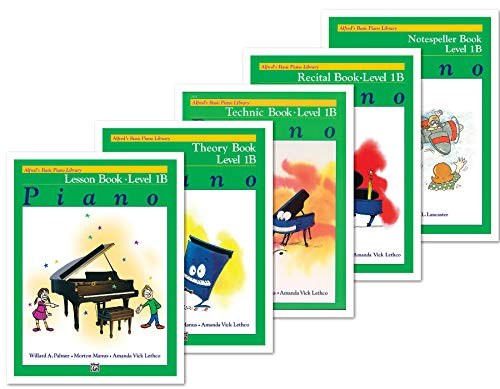 Alfred's Basic Piano Library: Level 1B Books Set (5 Books) - Lesson 1B, Theory 1B, Technic 1B, Recital 1B, Notespeller 1B