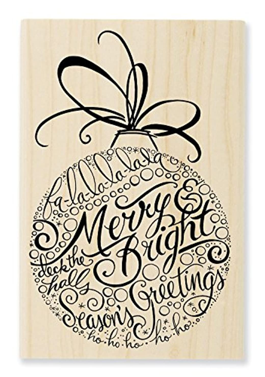 STAMPENDOUS Merry Ornament Wood Stamp