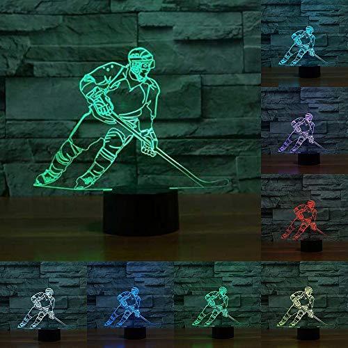 HPBN8 3D Eishockey Sport Illusions LED Lampen Tolle 7 Farbwechsel Acryl Berühren Tabelle Schreibtisch-Nacht licht mit USB-Kabel für Kinder Schlafzimmer Geburtstagsgeschenke Geschenk