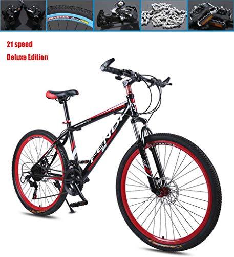 AISHFP 26 Pollici per Adulti Mountain Bike, Doppio Freno a Disco Cruiser Bikes, Spiaggia motoslitta Biciclette, Doppio Strato di Alluminio Lega, 21 velocità,Rosso,Deluxe Edition