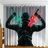 Sword Art Online Cortinas Opacas Térmicas Aislantes con Ojales Moderno Decoración Ventanas para Dormotorio Habitacion Salon 2 Pieza 117x183 cm Reducción de Ruido