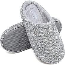 FANTURE Unisex Men's and Women's House Slippers Indoor Memory Foam Cashmere Cotton-Blend Knitted Autumn Winter Anti-Slip U419WMT029-Light Gray-03-38-39
