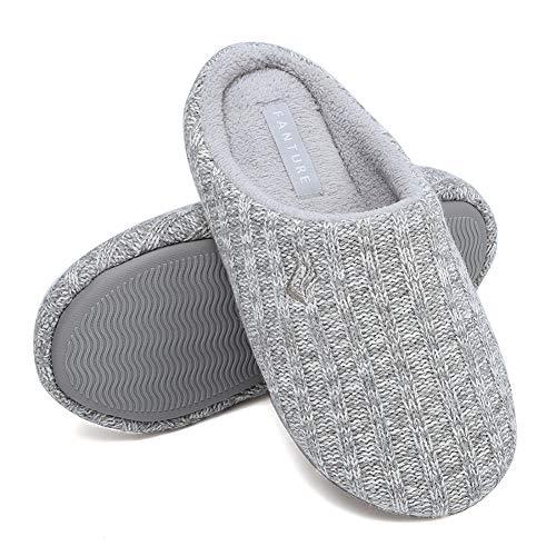 FANTURE Unisex Men's and Women's House Slippers Indoor Memory Foam Cashmere Cotton-Blend Knitted Autumn Winter Anti-Slip U419WMT029-Light Gray-F-36-37