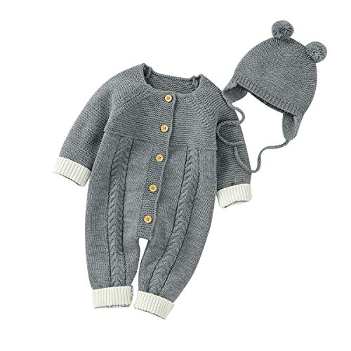 Ziyunlong Newborn Baby Knitted Sweater Romper Longsleeve Outfit with Warm Hat Set Gray(6-12M)