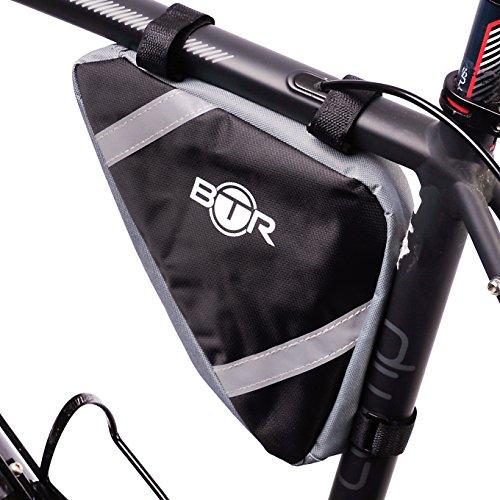 BTR - Alforja Bolsa Triangular de Almacenamiento para Marco de Bicicleta - Resistente al Agua - Negra con Cintas Reflectantes de Alta Visibilidad