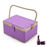 SAXTX Polka Dot Large Sewing Basket Organizer with 100pcs Accessories  Home Essentials Sewing Kit Box for Quilting Embroidery   12 1/5 x 9 x 6 1/3 inches Purple