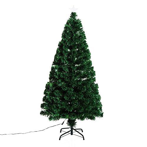 Outsunny HOMCOM Albero di Natale Artificiale Abete in PVC foltissimo Altezza 120 cm/150cm con Supporto (150 Centimetri)