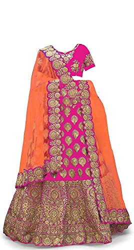 New Fashion Adda Girl's Taffeta Satin Semi Stitched Lehenga Choli With Unstitched Blouse And Readymade Dupatta (_Pink_9-13 YEAR)