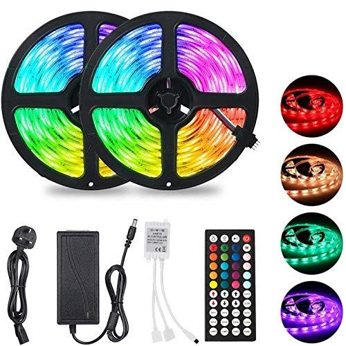 H/A Tira de luz LED 10m 300leds 5050 RGB SMD Color Cambio de la Tira de luz LED con 44 Teclas Control Remoto IP65 Impermeable, Cocina Inicio Decoraciones navideñas PANGP (Color : RGB, Size : 10M)