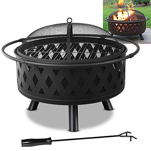 Backyard Firepit Round Fire pit with Mesh Spark Screen Cover Poker Large Size Steel Anti-Rust Portable Controllable Flame Quick Assembly for Patio Backyard Beach Picnic Camping 22in
